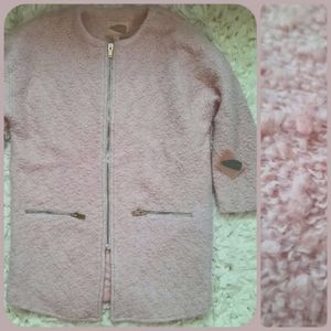 Forever 21 Pastel Pink Teddy Fur Coat ZipUp NWT S